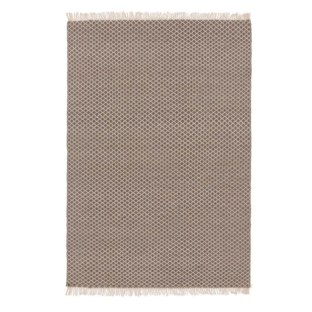 Loni rug, grey & off-white, 100% wool | URBANARA wool rugs