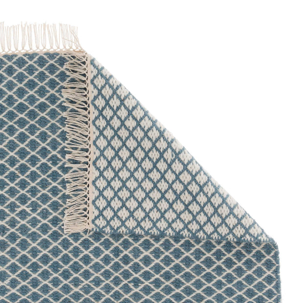 Loni rug, blue & off-white, 100% wool