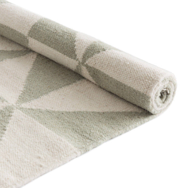 Almi runner, mint & off-white, 100% wool & 100% cotton |High quality homewares