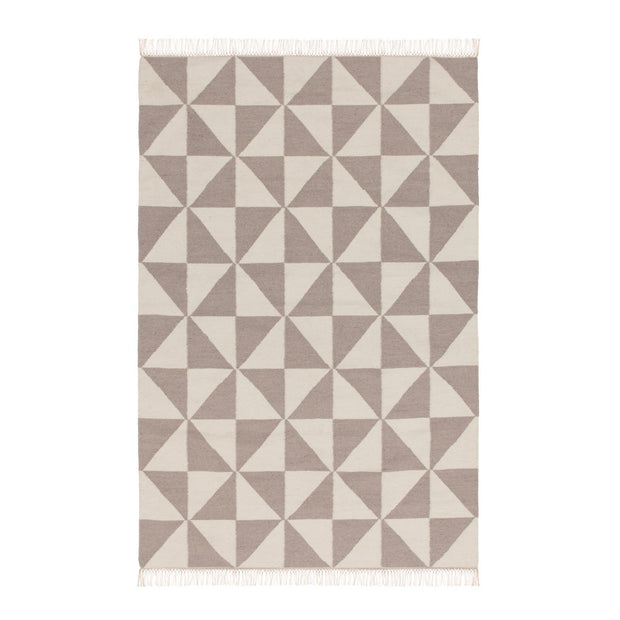 Almi rug, grey & off-white, 50% wool & 50% cotton | URBANARA wool rugs