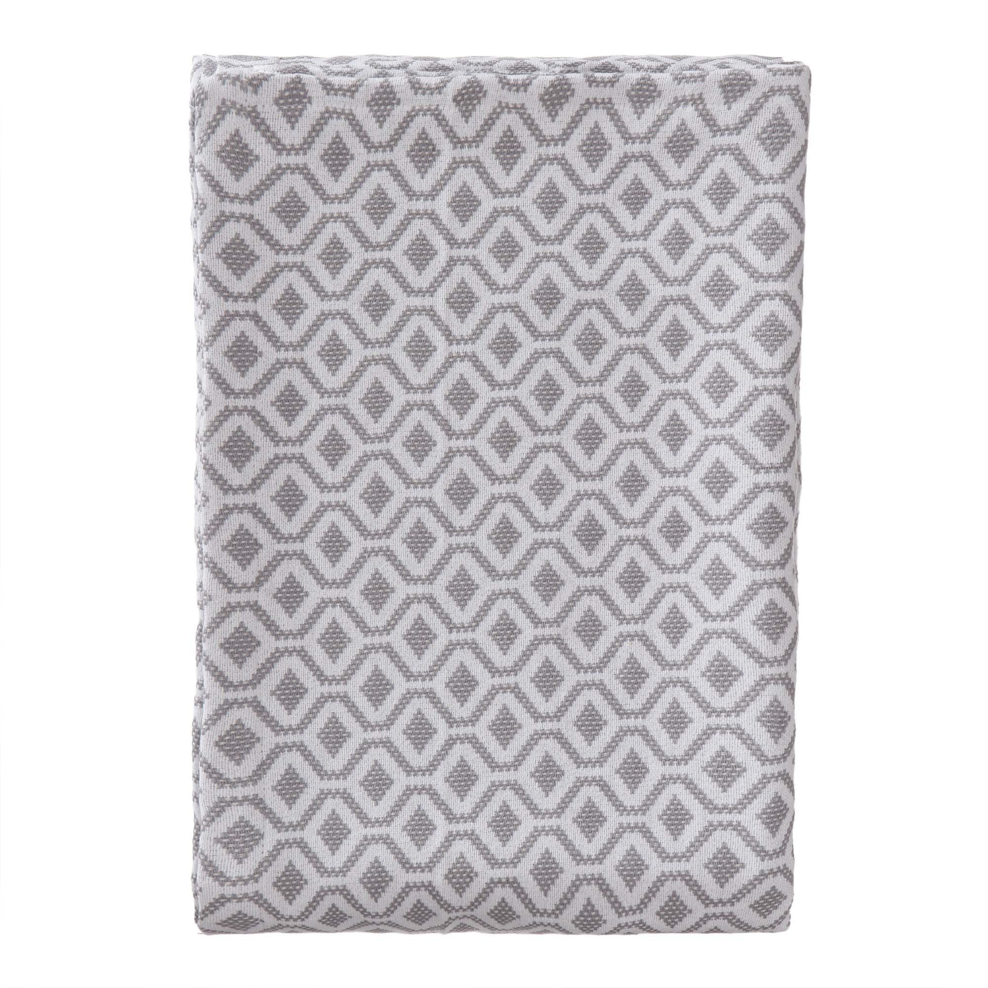 Viana bedspread, grey & white, 100% cotton