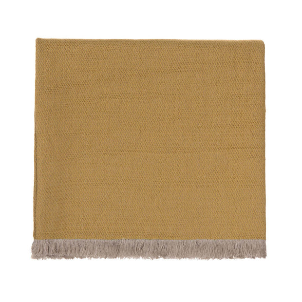 Alkas blanket, ochre & stone grey, 50% linen & 50% cotton