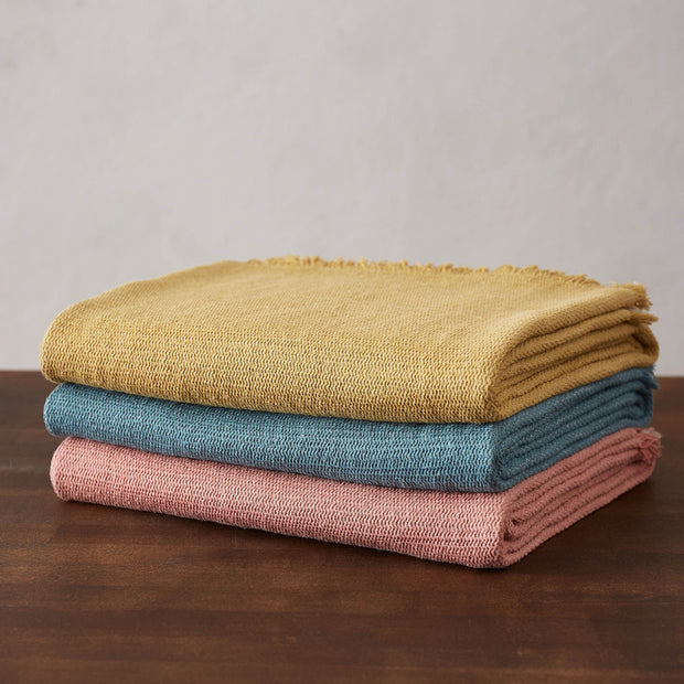 Alkas blanket, dusty pink & stone grey, 50% linen & 50% cotton |High quality homewares