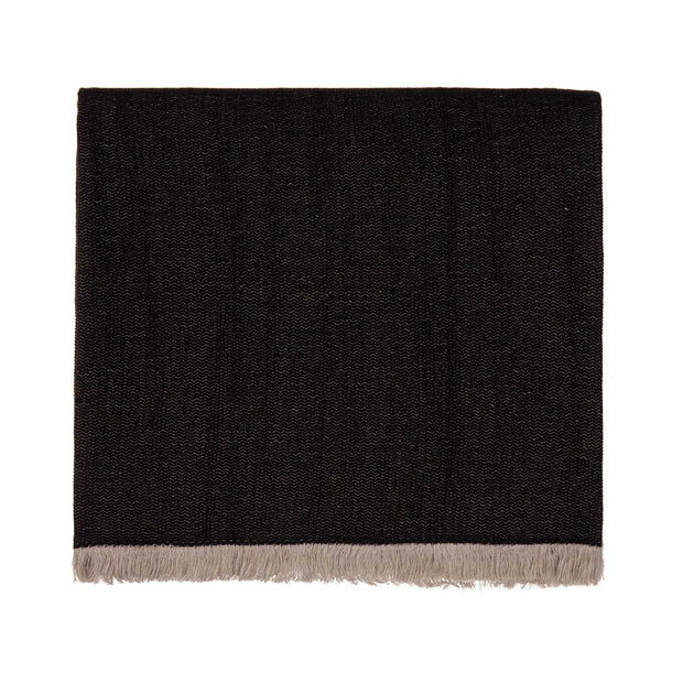Alkas blanket, black & stone grey, 50% linen & 50% cotton