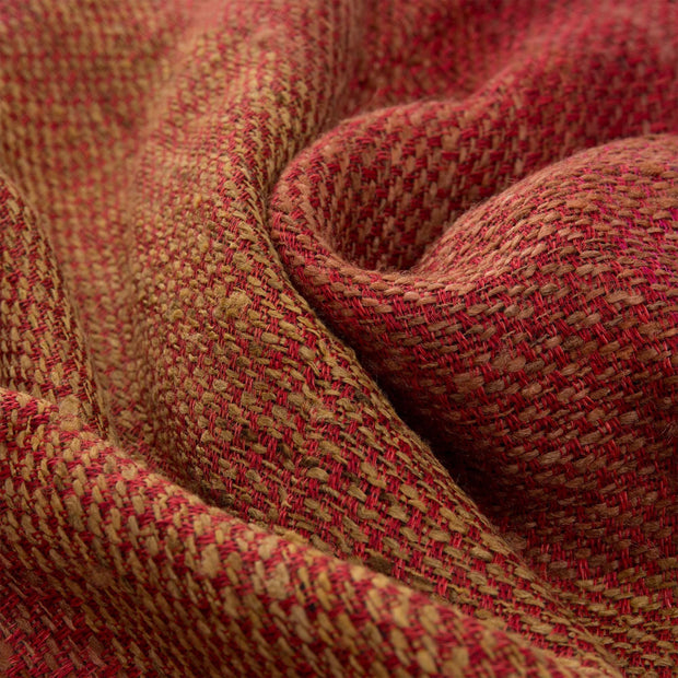 Birami blanket, red & orange & mustard, 60% linen & 40% silk |High quality homewares