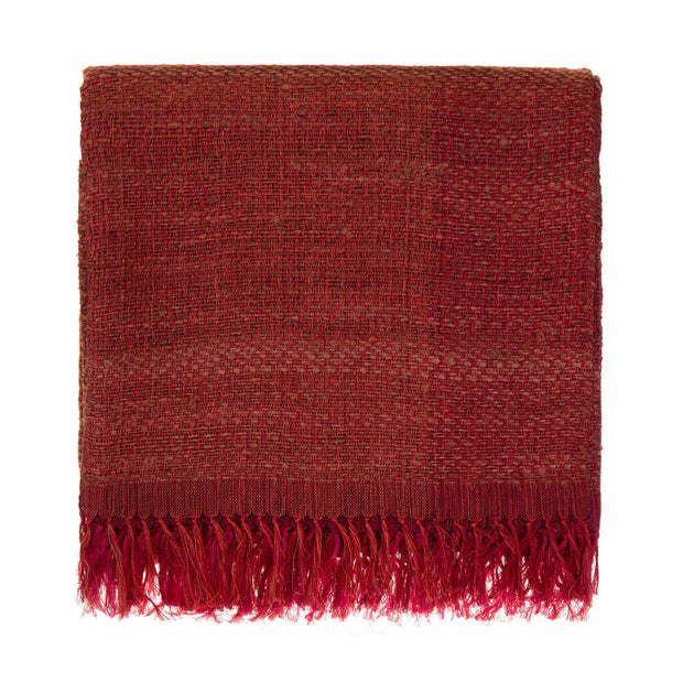 Birami blanket, red & orange & mustard, 60% linen & 40% silk