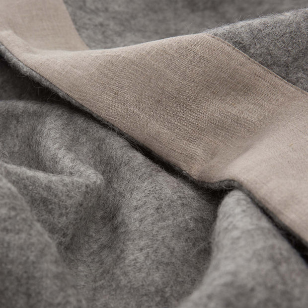 Fyn Wool Blanket grey & natural, 100% new wool & 100% linen | High quality homewares