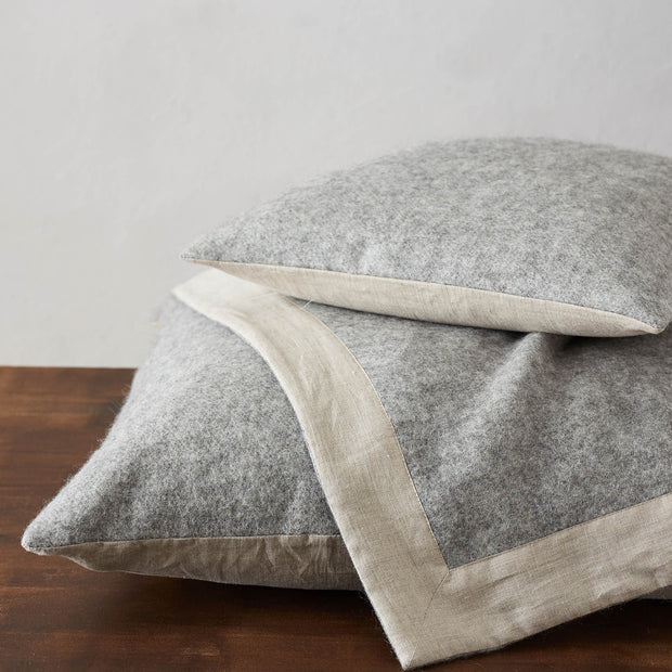 Fyn Wool Blanket grey & natural, 100% new wool & 100% linen | URBANARA wool blankets