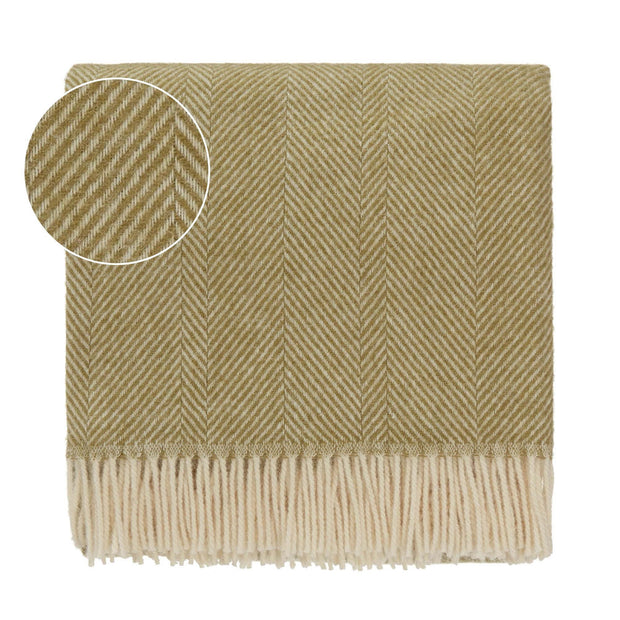 Salantai blanket, moss green & cream, 100% new wool