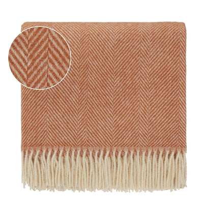 Salantai blanket, terracotta & cream, 100% new wool