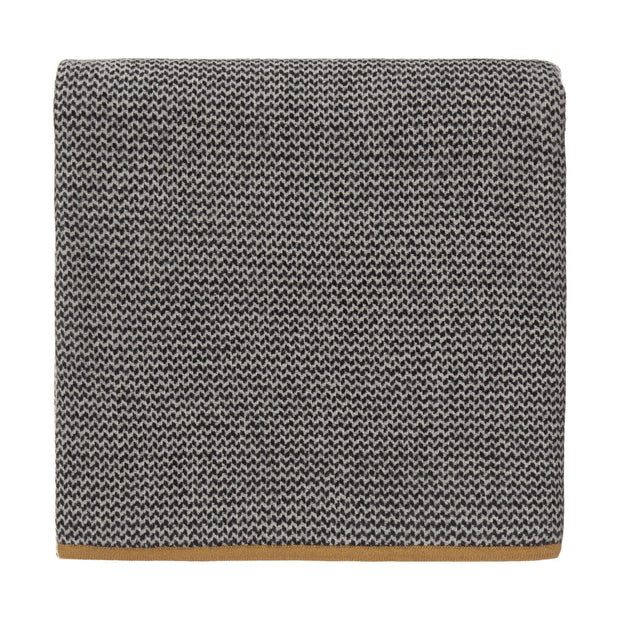 Foligno blanket, black & cream & ochre, 100% cashmere wool