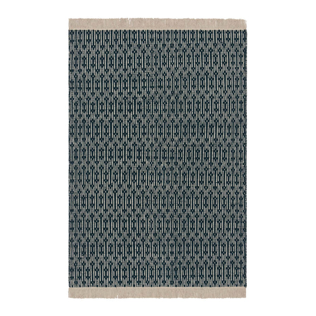 Lumaco rug, teal & off-white, 100% wool |High quality homewares