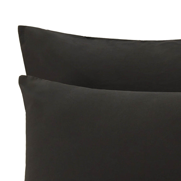 Perpignan pillowcase, black, 100% combed cotton | URBANARA percale bedding