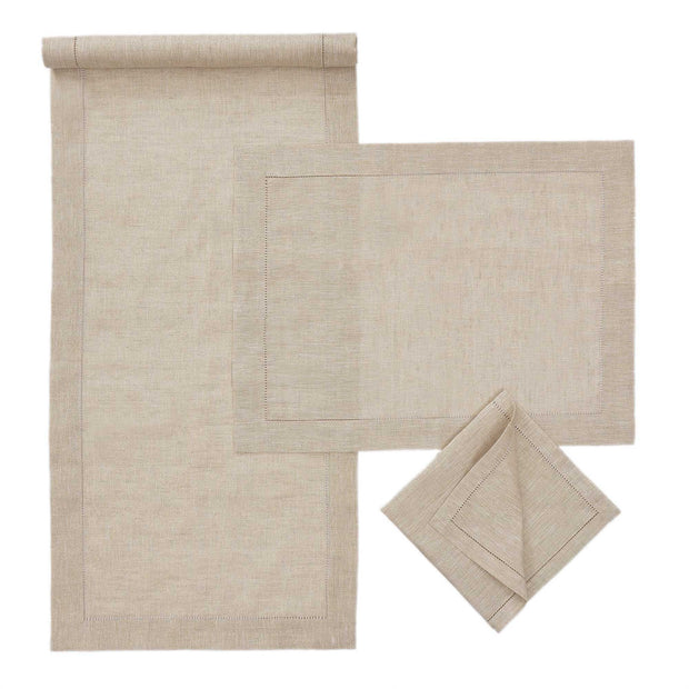 Cavaillon table runner, gold & natural, 87% linen & 13% lurex |High quality homewares