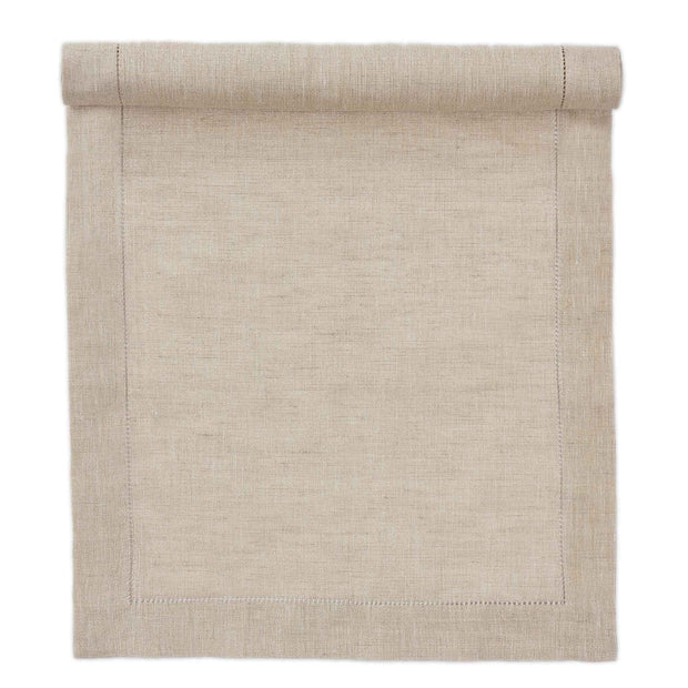 Cavaillon table runner, gold & natural, 87% linen & 13% lurex