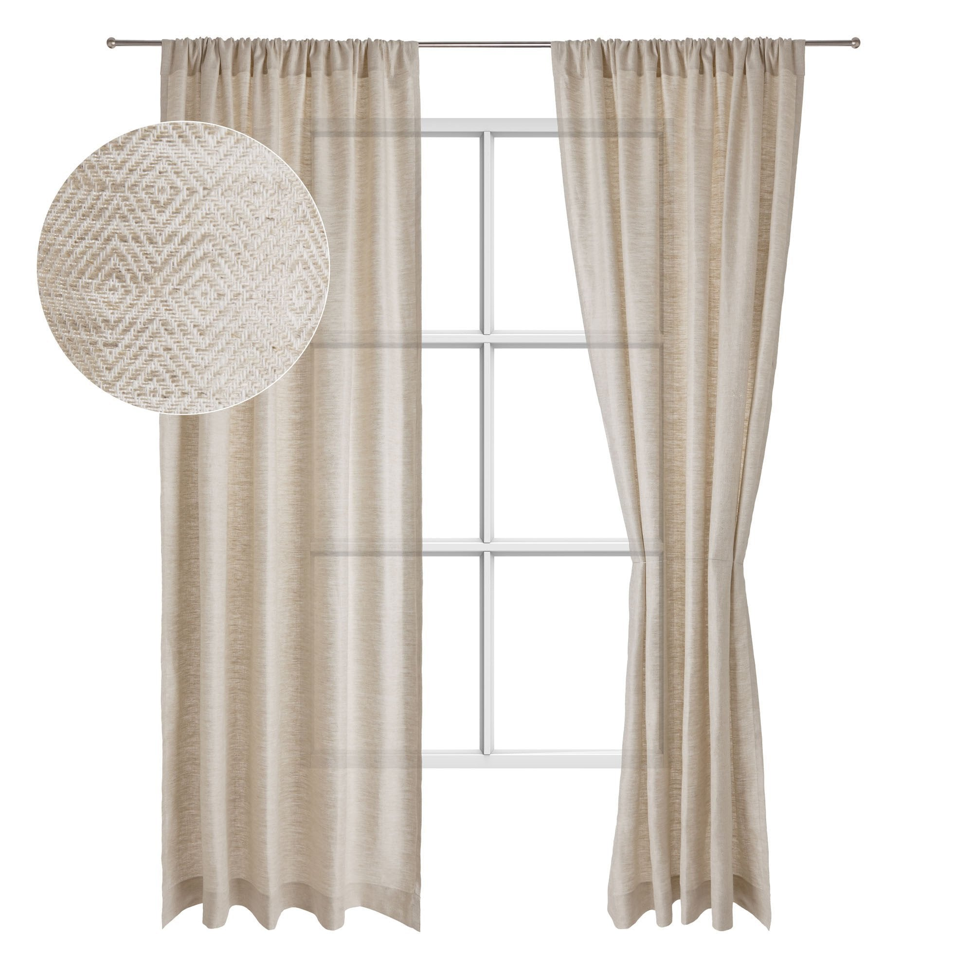 Zarasai curtain, natural & white, 100% linen