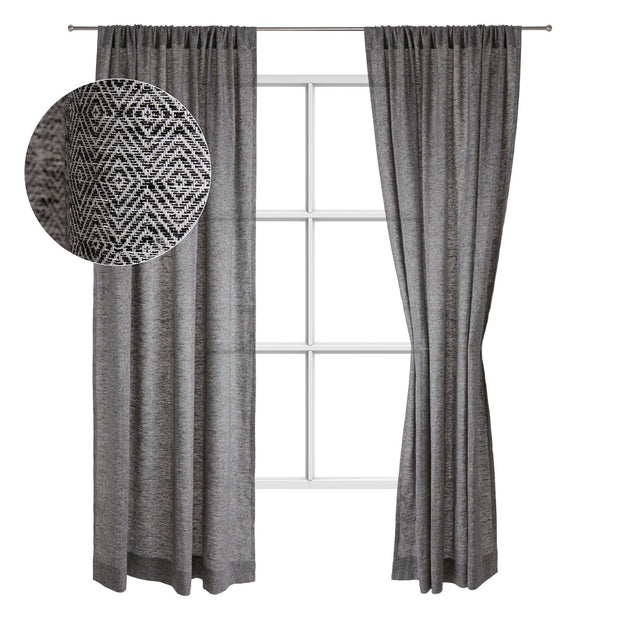 Zarasai curtain, black & white, 100% linen