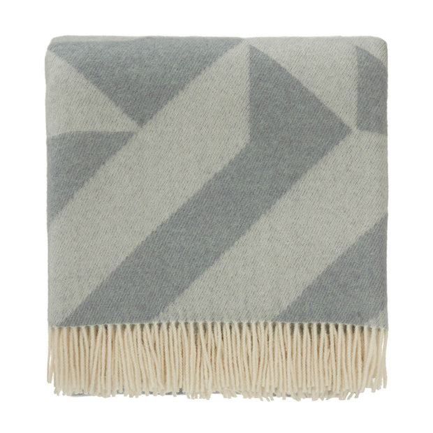 Farum blanket, grey blue & cream, 100% merino wool