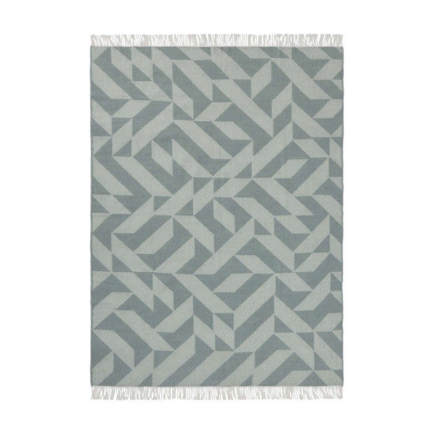 Farum blanket, grey blue & cream, 100% merino wool |High quality homewares