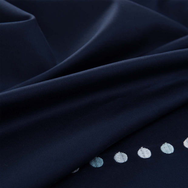 Mahina duvet cover, dark blue & blue & light grey, 100% cotton | URBANARA sateen bedding