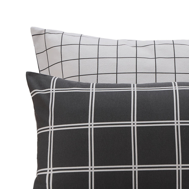 Brelade pillowcase, charcoal & light grey, 100% cotton | URBANARA flannel bedding