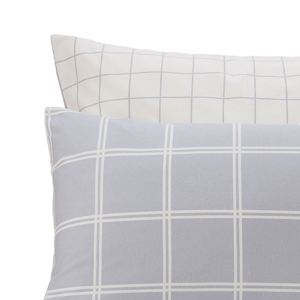 Brelade pillowcase, light grey & cream, 100% cotton | URBANARA flannel bedding