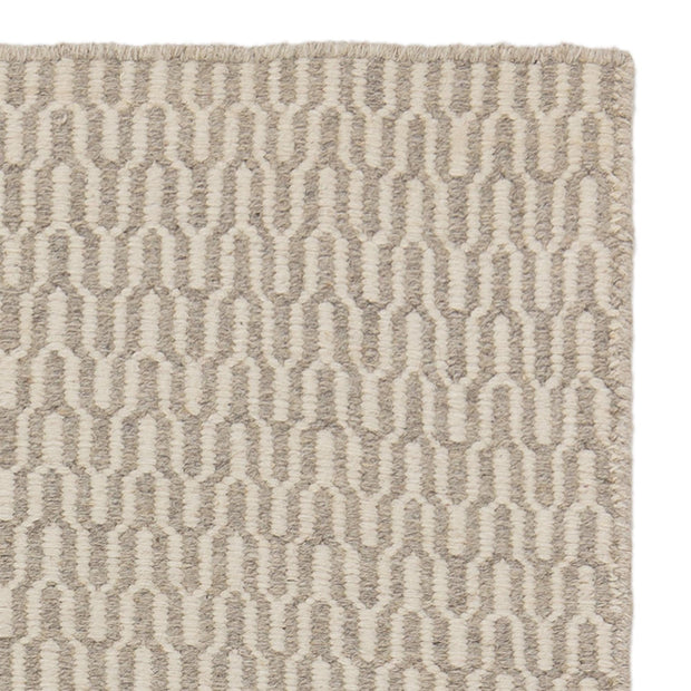 Overod rug, light grey & off-white, 100% new wool & 50% cotton