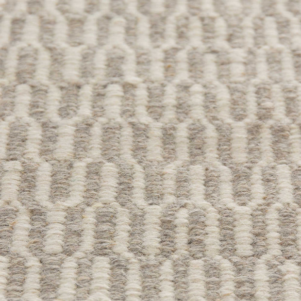 Overod rug in light grey & off-white, 100% new wool & 50% cotton |Find the perfect wool rugs