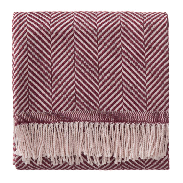 Salla blanket, bordeaux red & dusty pink, 100% new wool