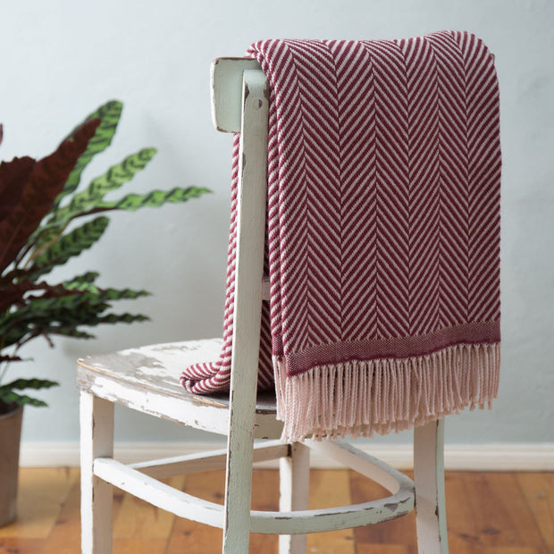 Salla blanket, bordeaux red & dusty pink, 100% new wool |High quality homewares