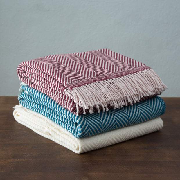Salla Wool Blanket [Bordeaux red/Dusty pink]