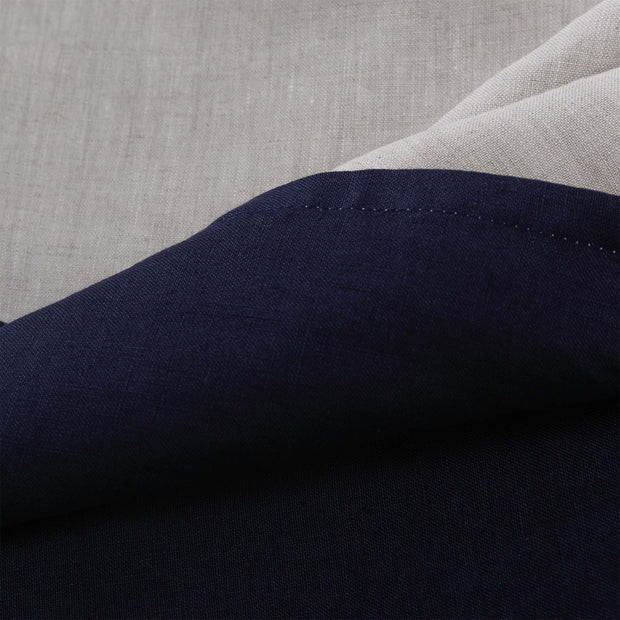 Cercosa duvet cover, dark blue & natural, 100% linen | URBANARA linen bedding