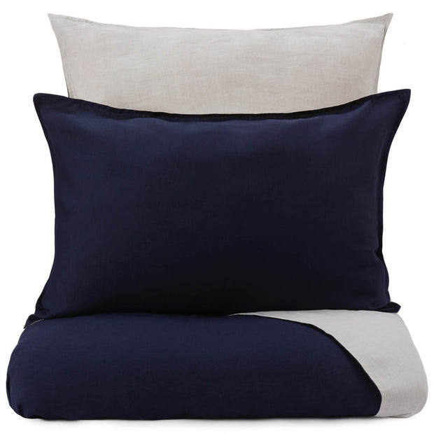 Cercosa duvet cover, dark blue & natural, 100% linen