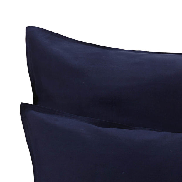 Bellvis pillowcase, dark blue, 100% linen | URBANARA linen bedding