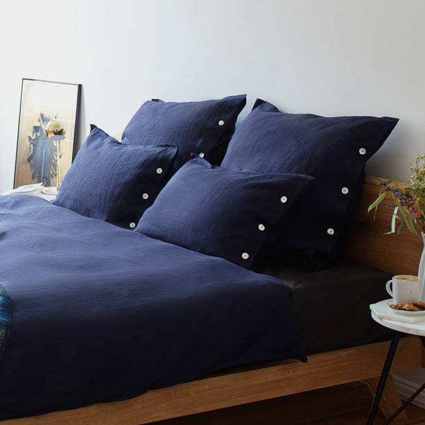 Bellvis Bed Linen in dark blue | Home & Living inspiration | URBANARA