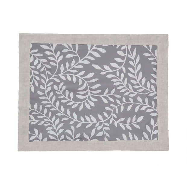 Eixo place mat, grey & white & natural, 100% cotton & 100% linen