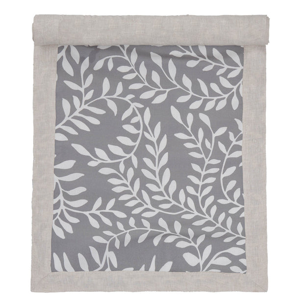 Eixo table runner, grey & white & natural, 100% cotton & 100% linen