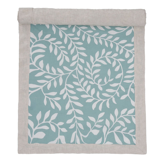 Eixo table runner, grey green & white & natural, 100% cotton & 100% linen