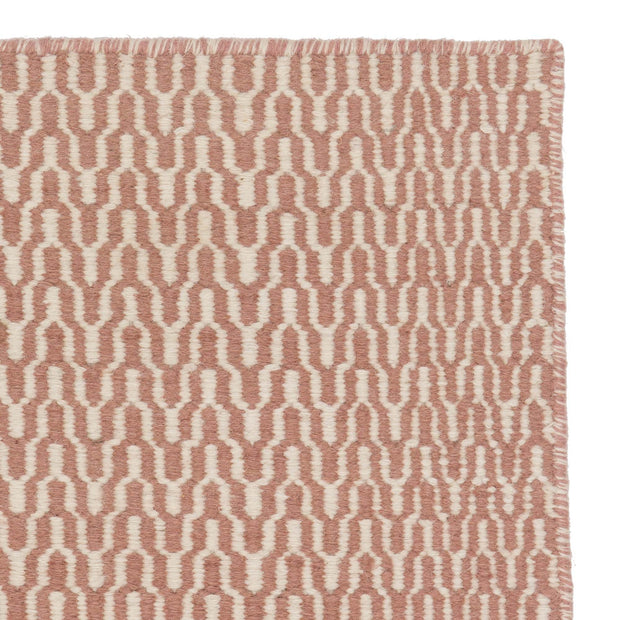 Overod runner, dusty pink & off-white, 100% new wool & 100% cotton