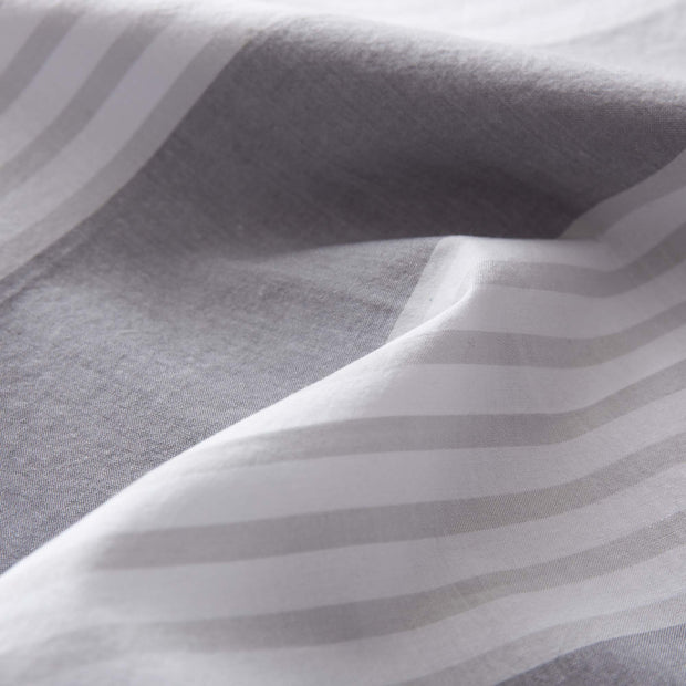 Beja pillowcase, grey & light grey & white, 100% cotton | URBANARA percale bedding