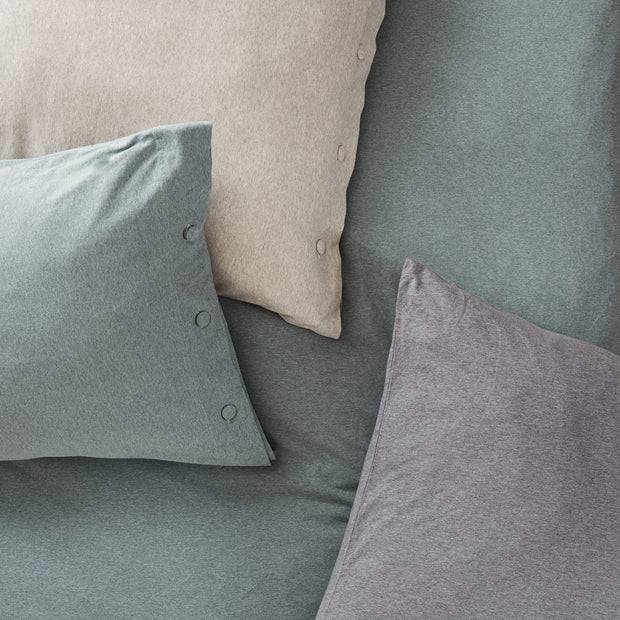 Sabugal pillowcase, emerald melange, 100% cotton | URBANARA jersey bedding