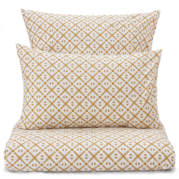 Arouca Pillowcase white & mustard, 100% cotton