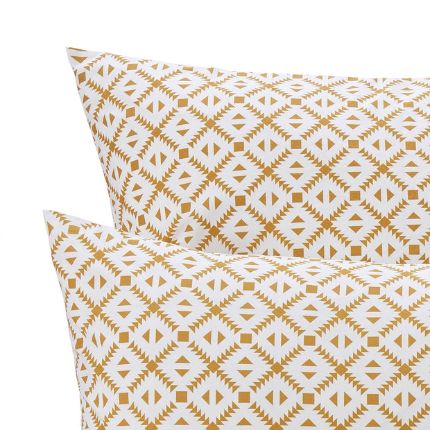 Arouca Pillowcase white & mustard, 100% cotton | URBANARA percale bedding