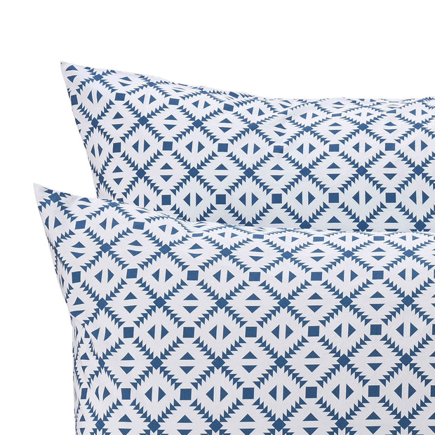 Arouca duvet cover, white & denim blue, 100% cotton | URBANARA percale bedding