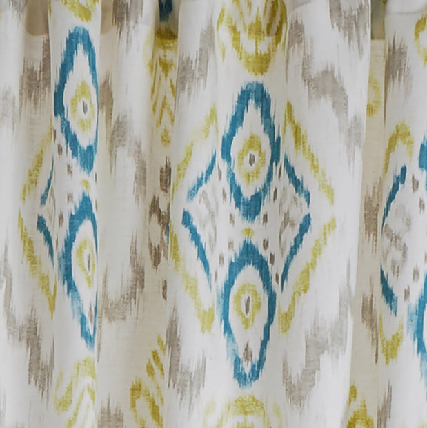 Suide curtain, natural white & turquoise & green, 65% linen & 35% polyester | URBANARA curtains