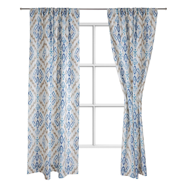 Suide curtain, natural white & dark blue & denim blue, 65% linen & 35% polyester