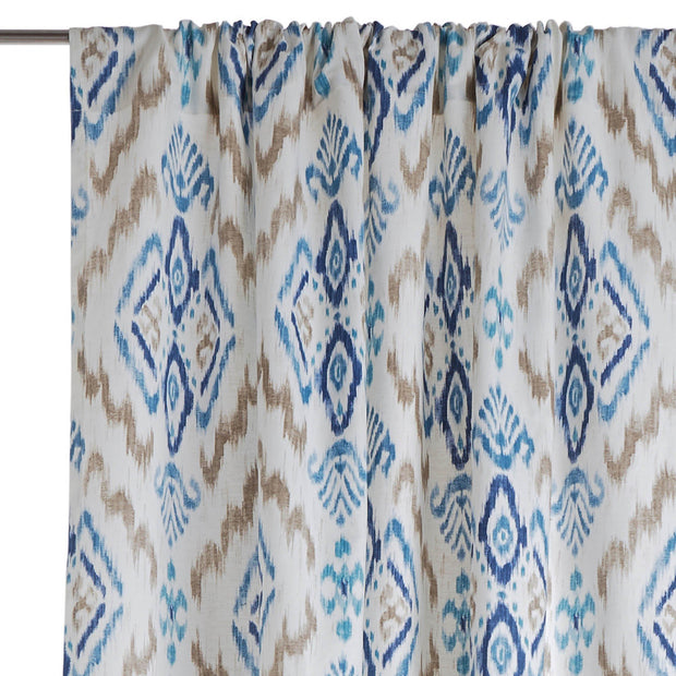 Suide curtain, natural white & dark blue & denim blue, 65% linen & 35% polyester | URBANARA curtains