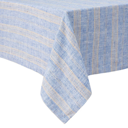 Lusis table cloth, light blue & natural, 100% linen