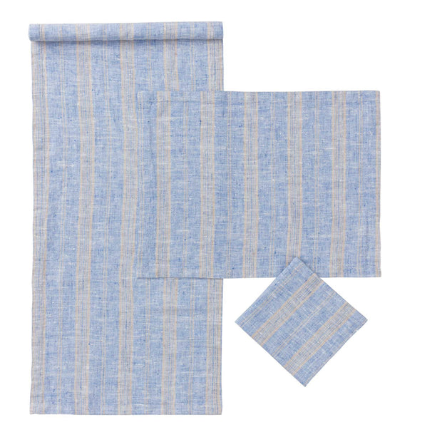 Lusis napkin, light blue & natural, 100% linen | URBANARA napkins