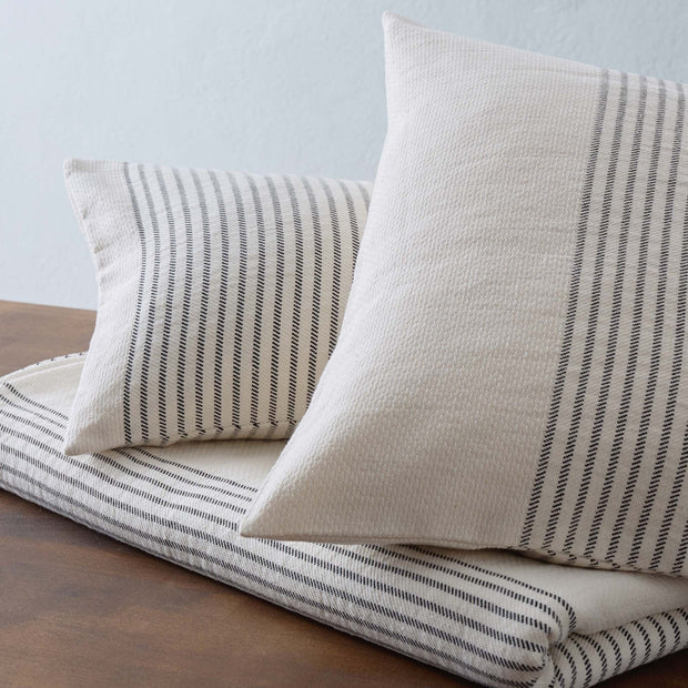 Kadan cushion cover, cream & black, 50% linen & 50% cotton | URBANARA cushion covers
